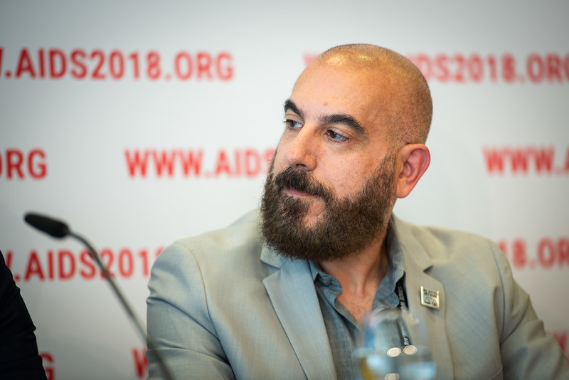 22nd International AIDS Conference (AIDS 2018) Amsterdam, Netherlands.   Copyright: Steve Forrest/Workers' Photos/ IAS  Photo shows: The Criminalization of HIV JIAS Press Conference. Edwin Bernard HIV Justice Network.
