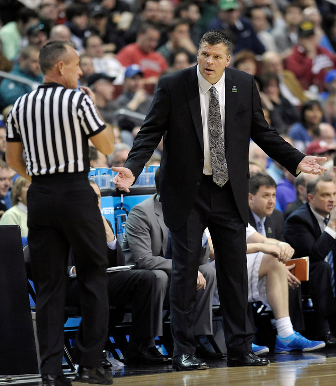 . Creighton head coach Greg McDermott reacts to a call during the first half of a second-round game against Cincinnati during the NCAA college basketball tournament, Friday, March 22, 2013, in Philadelphia. (AP Photo/Michael Perez)