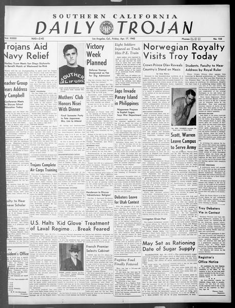 Daily Trojan, Vol. 33, No. 123, April 17, 1942