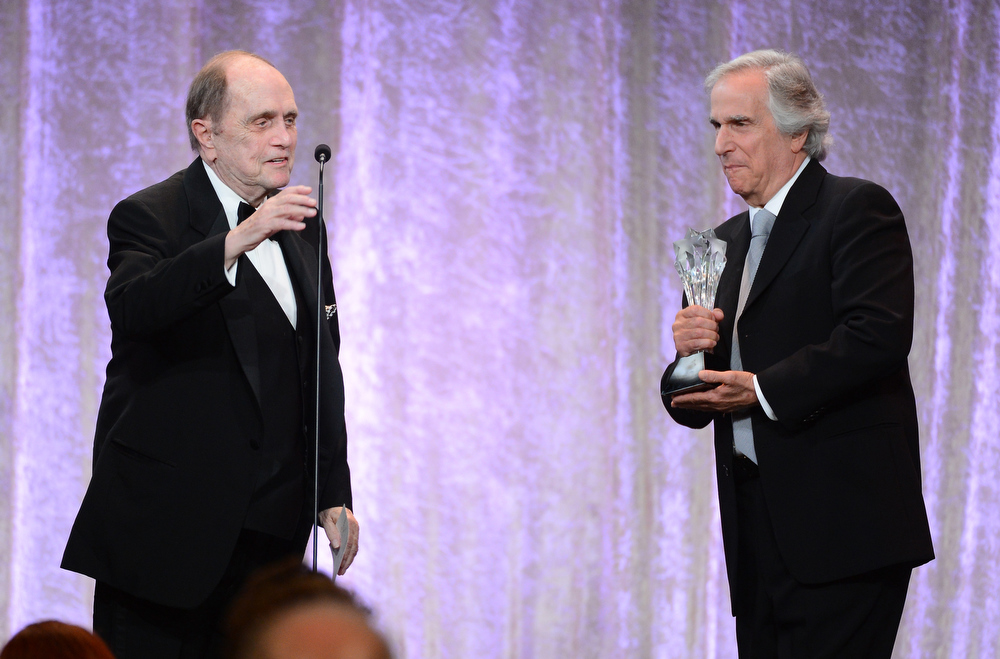 . Actor/comedian Bob Newhart accepts the Icon Award from actor Henry Winkler onstage during Broadcast Television Journalists Association\'s third annual Critics\' Choice Television Awards at The Beverly Hilton Hotel on June 10, 2013 in Los Angeles, California.  (Photo by Mark Davis/Getty Images for CCTA)