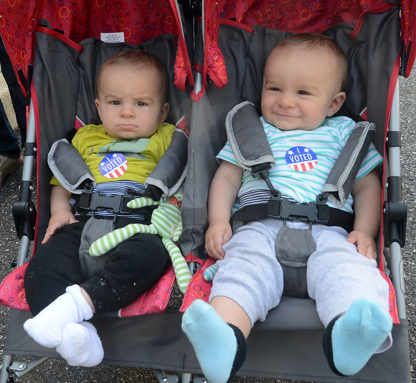 """. PETE  BANNAN-DIGITAL FIRST MEDIA       Thomas and Basil McCready wear their, \""""I Voted \"""" stickers  after visiting the polls  with their grandmother, Martha Tavantzis at Upper Providence District 2 in the township building Tuesday morning."""