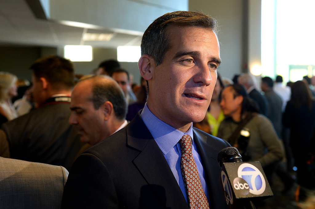 . Mayor Eric Garcetti is interviewed at a forum of exhibits and workshops presented by the Valley Economic Alliance at CSUN commemorating the 20th anniversary of the 1994 Northridge Earthquake, January 17, 2014. (Photo by Michael Owen Baker/L.A. Daily News)