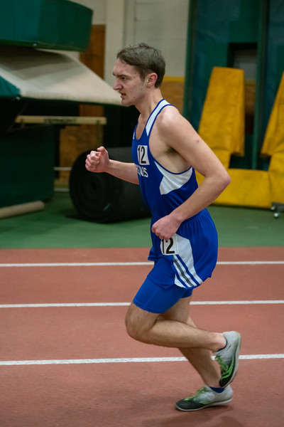 Sophomore Chris Therrien running the 3000. Chris finished in 9th place with a time of 11:07.35. Vermont Division II Indoor Track State Championships - UVM Gutterson Field House - 2/16/2020