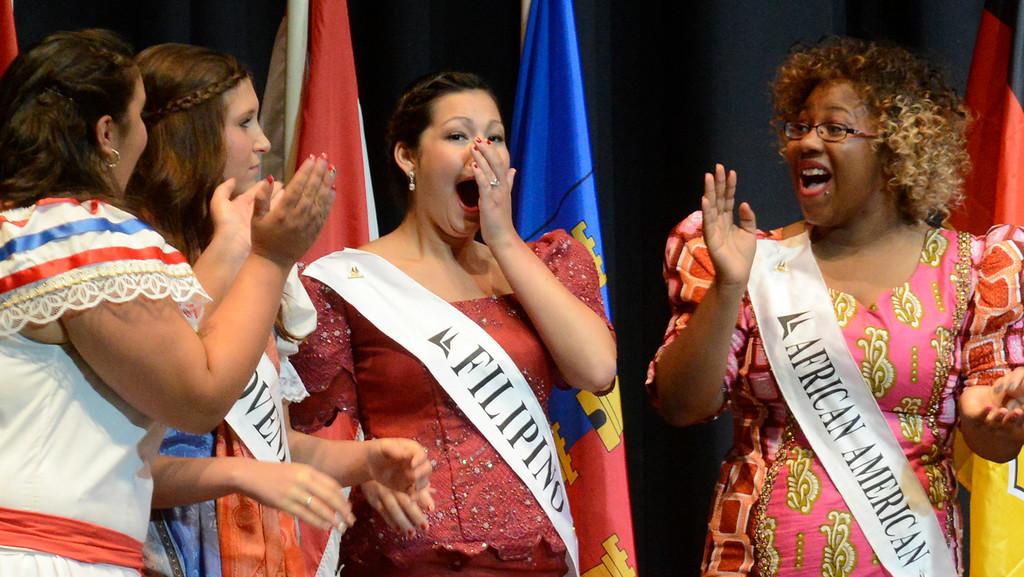 . Maribeth Joeright/MJoeright@News-Herald.com <p> Colleen Ziegman, Filipino Princess, center, reacts as she is announced the winner of the 48th annual Lorain International Princess Pageant, June 26, 2014.