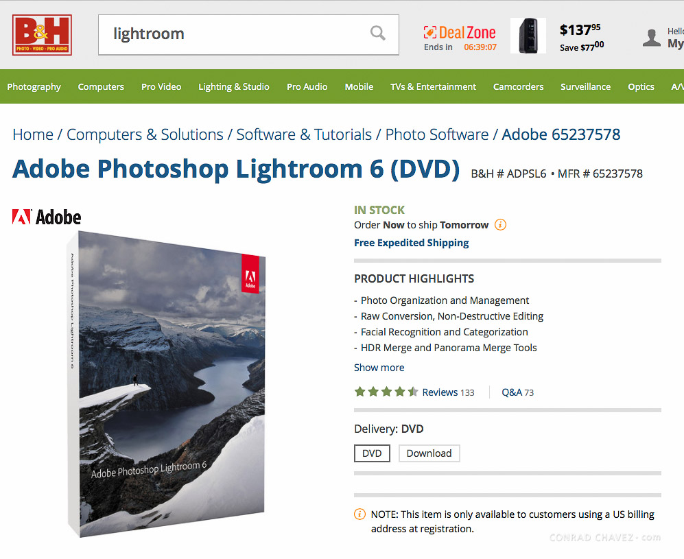 B&H Photo web page for buying Lightroom 6