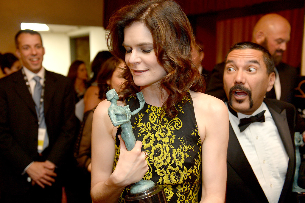 . Betsy Brandt backstage at the 20th Annual Screen Actors Guild Awards  at the Shrine Auditorium in Los Angeles, California on Saturday January 18, 2014 (Photo by Michael Owen Baker / Los Angeles Daily News)