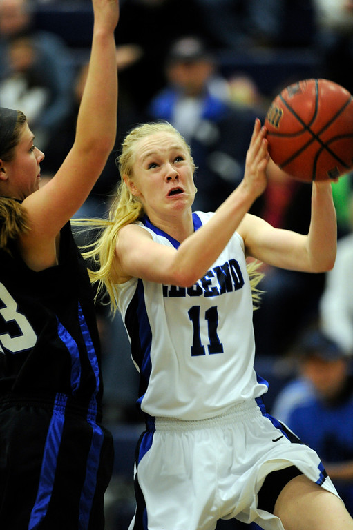 . PARKER, CO. - FEBRUARY 15: Legend forward Joey Sale (11) made a move to the basket in the first half. The Legend High School girls\'s basketball team hosted Highlands Ranch Friday night, February 15, 2013. (Photo By Karl Gehring/The Denver Post)