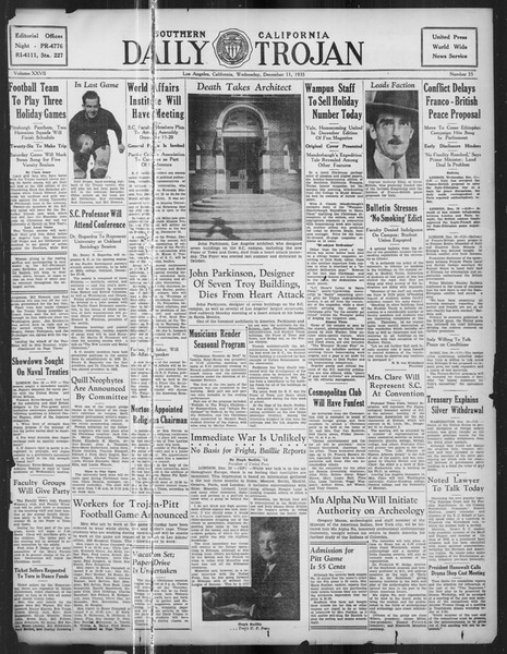 Daily Trojan, Vol. 27, No. 55, December 11, 1935