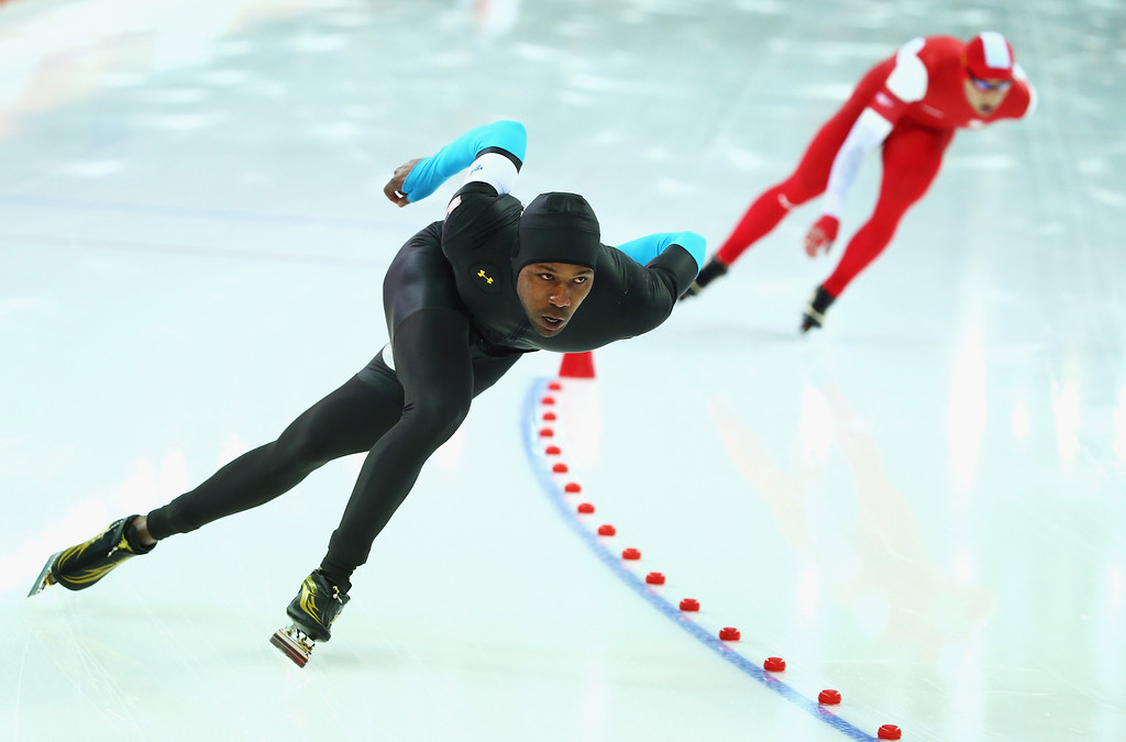. SOCHI, RUSSIA - FEBRUARY 15:  Shani Davis of United States competes in the Speed Skating Men\'s 1500m on day eight of the Sochi 2014 Winter Olympics at Adler Arena Skating Center on February 15, 2014 in Sochi, Russia.  (Photo by Ryan Pierse/Getty Images)