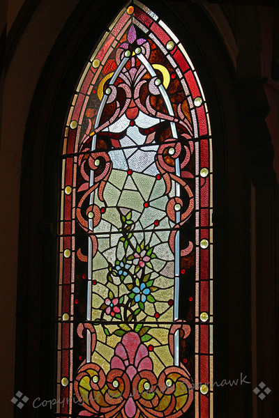 Stained Glass Flowers ~  I was invited to visit a beautiful little church in Riverside, California, to photograph the stained glass windows. The windows were amazing, with such detail and beautiful colors. The church was built in the 1800's, and has intreresting architecture. It was a joy to see and photograph the windows.