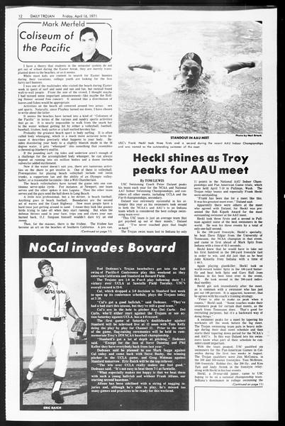Daily Trojan, Vol. 62, No. 105, April 16, 1971