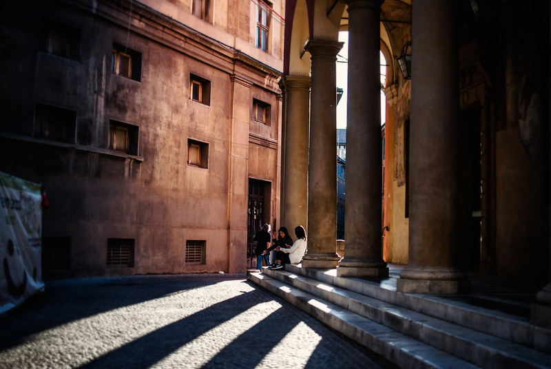 bologna evening long shadows ladies sitting and chatting.jpg