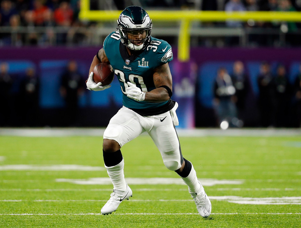 . Philadelphia Eagles running back Corey Clement (30), runs the ball, during the first half of the NFL Super Bowl 52 football game against the New England Patriots, Sunday, Feb. 4, 2018, in Minneapolis. (AP Photo/Charlie Neibergall)