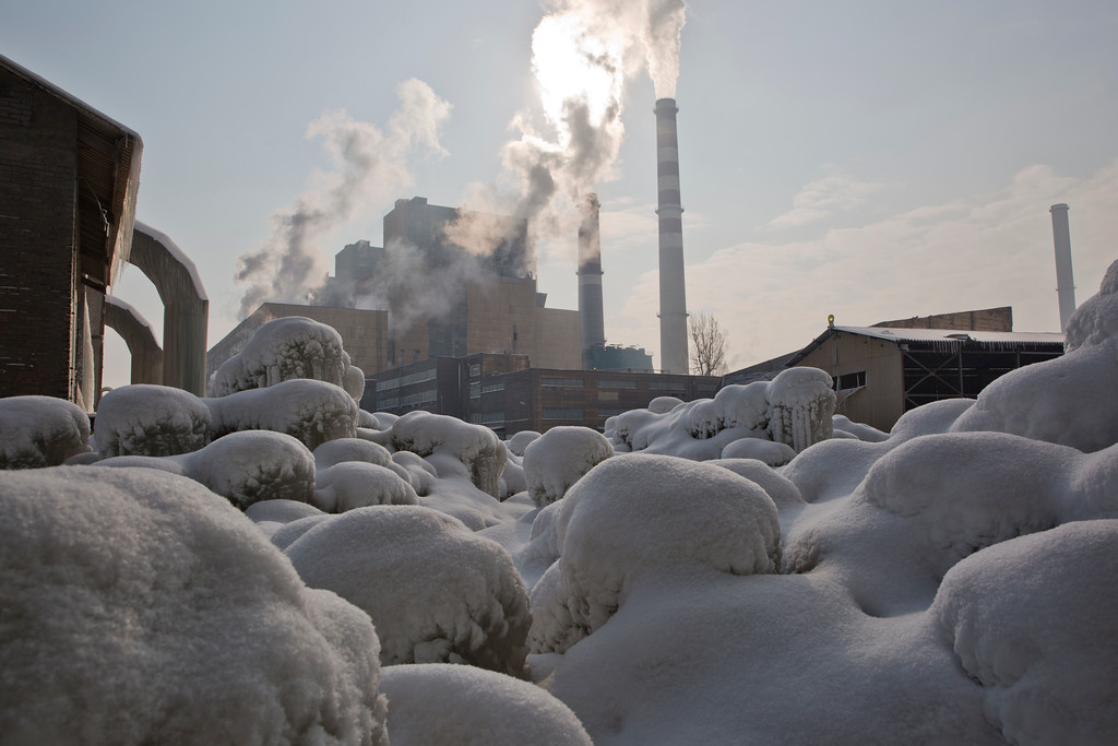 . Ice covers vegetation at the main Kosovo power plant in the town of Obilic on Wednesday, Jan 11, 2017. As temperatures plummeted to -25 C (-13 F), there were power outages in many areas in what meteorologists said was the coldest weather since 1963, when it dropped to -32.5 Centigrade (-26.5 Fahrenheit) in the eastern Kosovo city of Gjilan. (AP Photo/Visar Kryeziu)