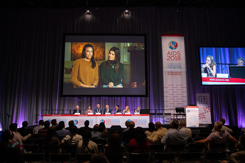 22nd International AIDS Conference (AIDS 2018) Amsterdam, Netherlands.   Copyright: Steve Forrest/Workers' Photos/ IAS  Photo shows: From Left to Right: Michael Kirby; Nittaya Phanuphak; Aaron Cogle; Andrew Grulish, Lisa Maria Singh, Sharon Lewin, and Francoise Barré-Sinoussi, at the memorial service in memory of David Cooper, during the IAS Members' Meeting.