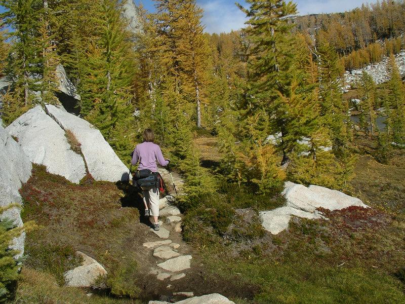 Mimi heading down the trail.