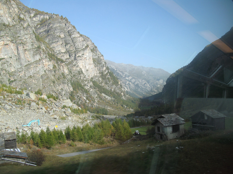 View from the train shortly after leaving Zermatt