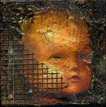 Caged Baby, encaustic (8x8)