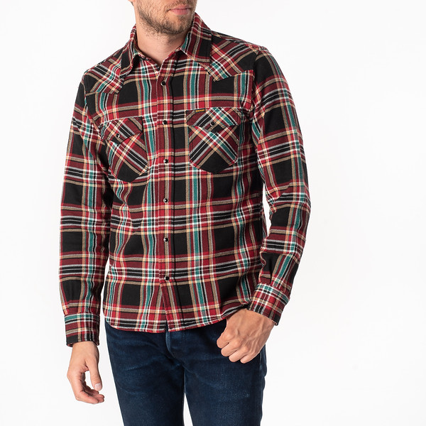 Black Crazy Check Ultra Heavy Flannel Western Shirt-1825.jpg