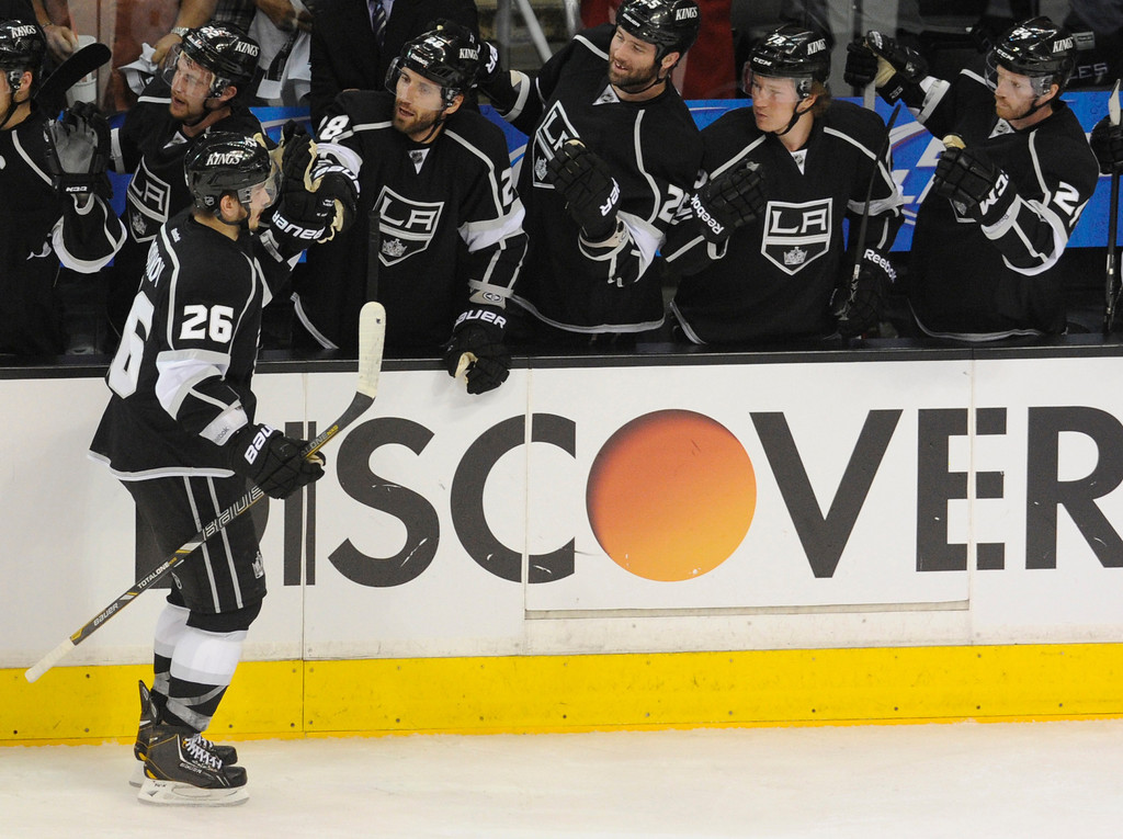 . Kings#26 Slava Voynov is congratulated for his first period goal. The Kings played the San Jose Sharks during the first game in the Second Round of the Western Conference Playoffs. Los Angeles CA 5/14/2013(John McCoy/LA Daily News)