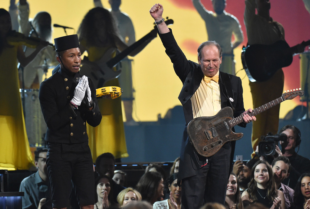 . Pharrell Williams, left, and Hans Zimmer perform at the 57th annual Grammy Awards on Sunday, Feb. 8, 2015, in Los Angeles. (Photo by John Shearer/Invision/AP)