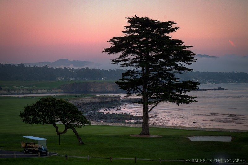 Pebble Beach at sunset - took this shot right outside the hotel lobby just as we arrived for check-in.
