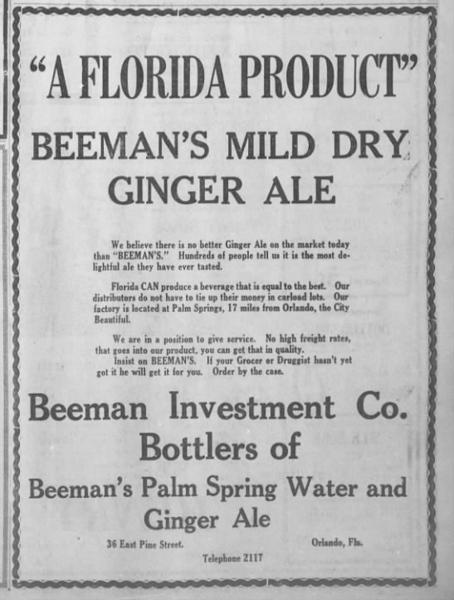 Beeman's Ginger Ale Orlando Sentinel 20 July 1924 p 7.jpg