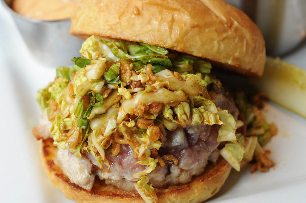 . The Ahi Tuna Burger is a seared Ahi tuna patty, Asian slaw, wasabi mayo and candied ramen.  (Pioneer Press: Scott Takushi)