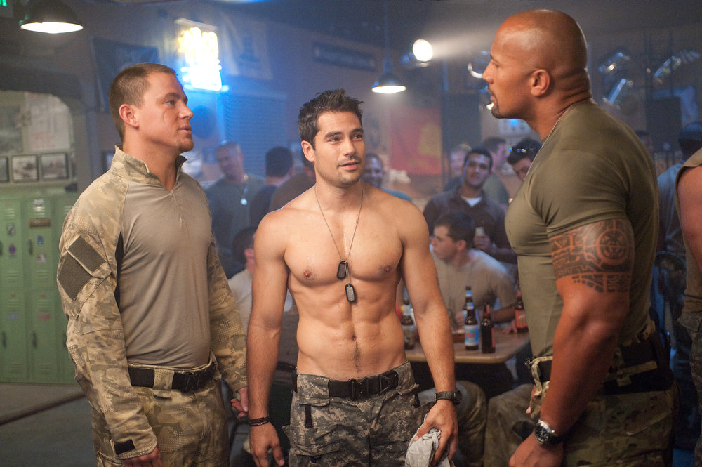 Description of . Left to right: Channing Tatum plays Duke, D.J. Cotrona plays Flint, and Dwayne Johnson plays Roadblock in G.I. JOE: RETALIATION, from Paramount Pictures, MGM, and Skydance Productions. (Jaimie Trueblood/Paramount Pictures)