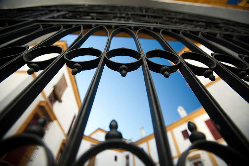 Fence, Real Maestranza bullring, Seville, autonomous community of Andalusia, southern Spain