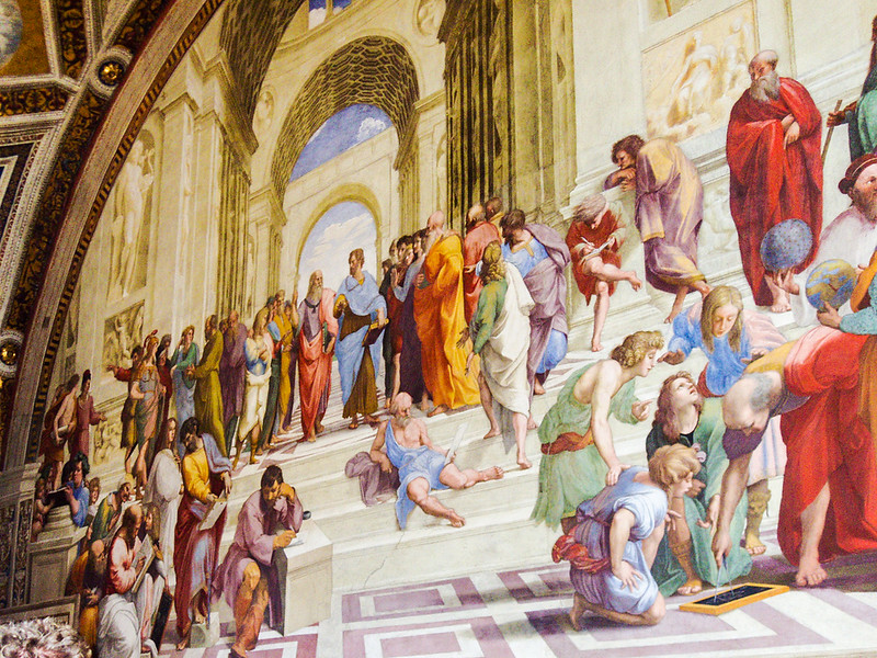 artwork with various people on a staircase