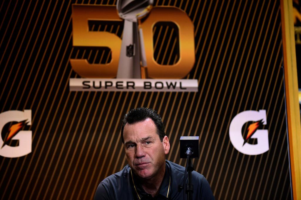 . SAN JOSE, CA - FEBRUARY 01: Denver Broncos head coach Gary Kubiak during the Super Bowl 50 Opening Night at the SAP Center, San Jose, CA. February 01, 2016 (Photo by Joe Amon/The Denver Post)