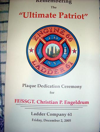 FDNY-Plaque Dedication Christian P. Engeldrum 12/2/05