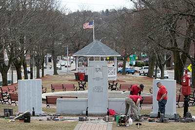 Work on Walkway for Firefighters Memorial, March 10, 2020