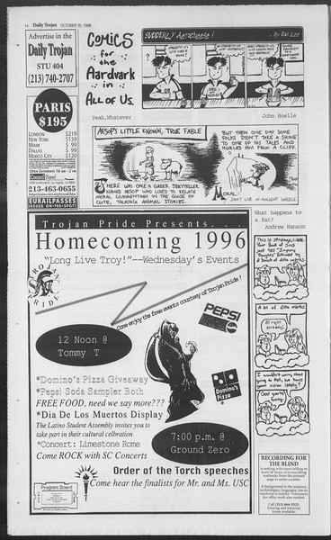 Daily Trojan, Vol. 129, No. 44, October 30, 1996