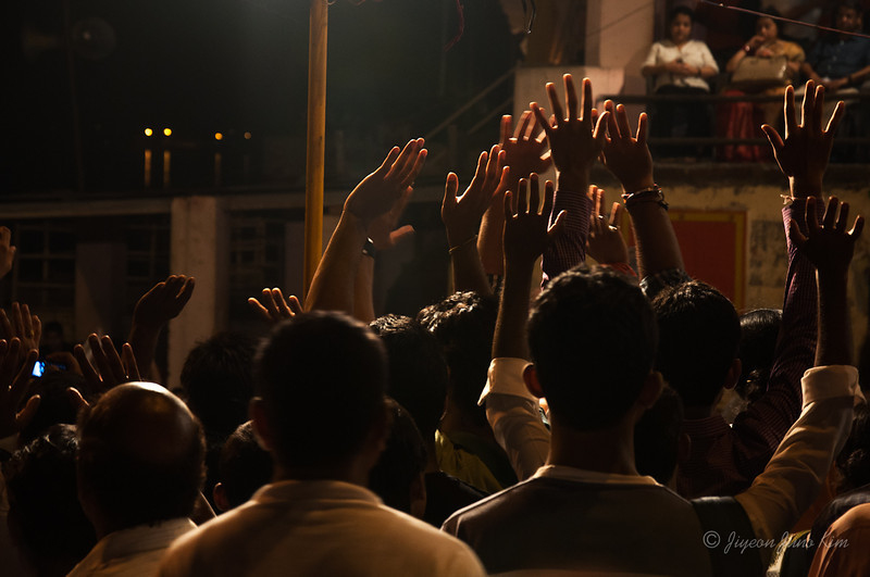 Ceremony at Dashashwamedh Ghat, Varanasi, India