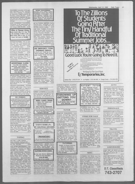 Daily Trojan, Vol. 106, No. 59, April 13, 1988