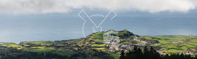 Aerial landscape looking in direction of Mosteiros as seen from the volcano of Sete Cidades on Sao Miguel Island