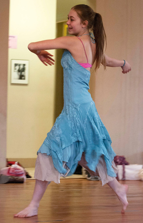 . Kayla Rice/Reformer                                 Sequoyah Stevens-Mills, 13, dances during an IBIT (Intrinsic Beauty of Invisible Things) rehearsal at the Elliot St. studio in Brattleboro on Tuesday afternoon.