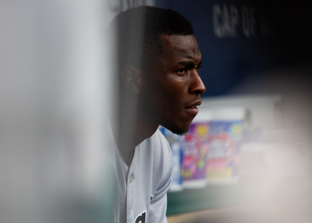 . Tim Anderson of the Chicago White Sox sits on the bench during a regular season game at Progressive Field on June 20, 2018. The Indians defeated the Sox 12-0. (The Morning Journal/Michael Johnson)