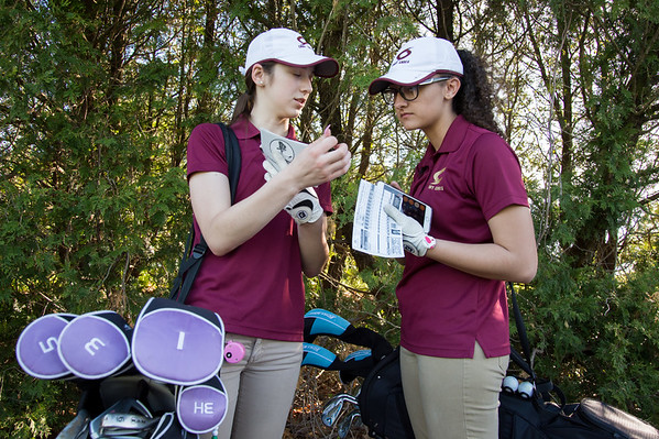 05/8/19 Wesley Bunnell | Staff Berlin girls golf defeated New Britain at Timberlin Golf Course on Wednesday afternoon. New Britain's Morgan Giantonio, L and Abby Olson total their score cards.