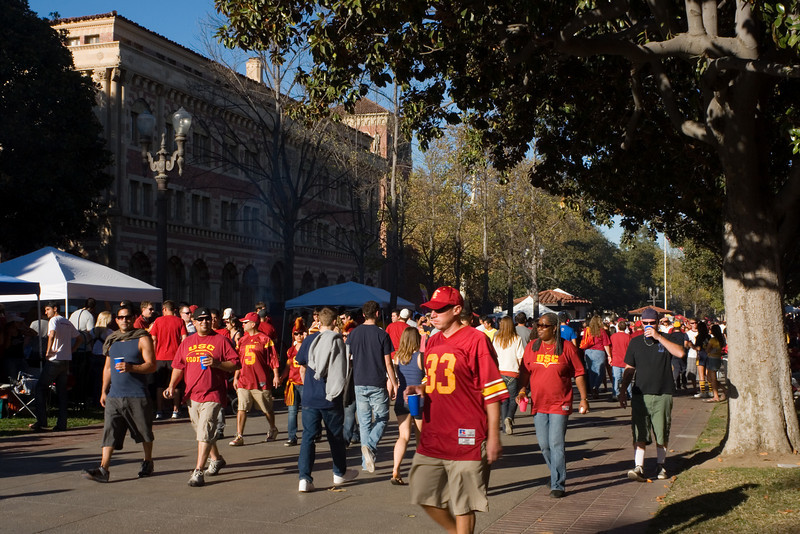 The shuttle bus drops us off next to USC where a sea of cardinal and gold (and a few spots of Cal blue) floods campus
