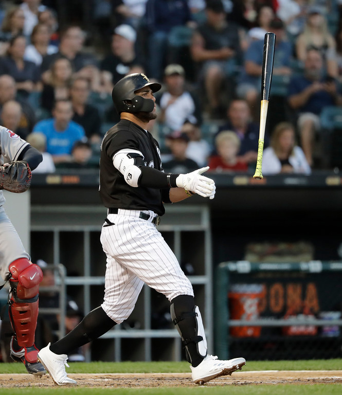 . Chicago White Sox\'s Yoan Moncada flips his bat after striking out on a pitch from Cleveland Indians starting pitcher Trevor Bauer in the third inning of a baseball game Wednesday, June 13, 2018, in Chicago. (AP Photo/Charles Rex Arbogast)