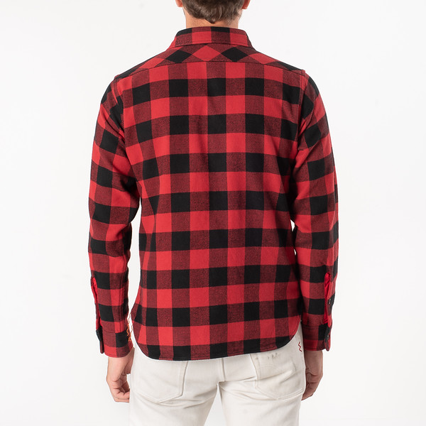 Ultra Heavy Flannel Buffalo Check Work Shirt - Red-Black-6906.jpg