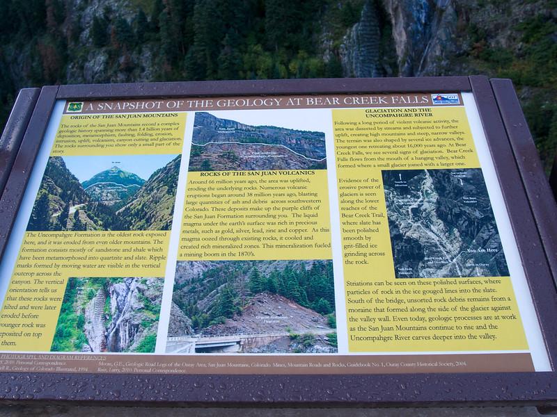 Bear Creeek Falls sign