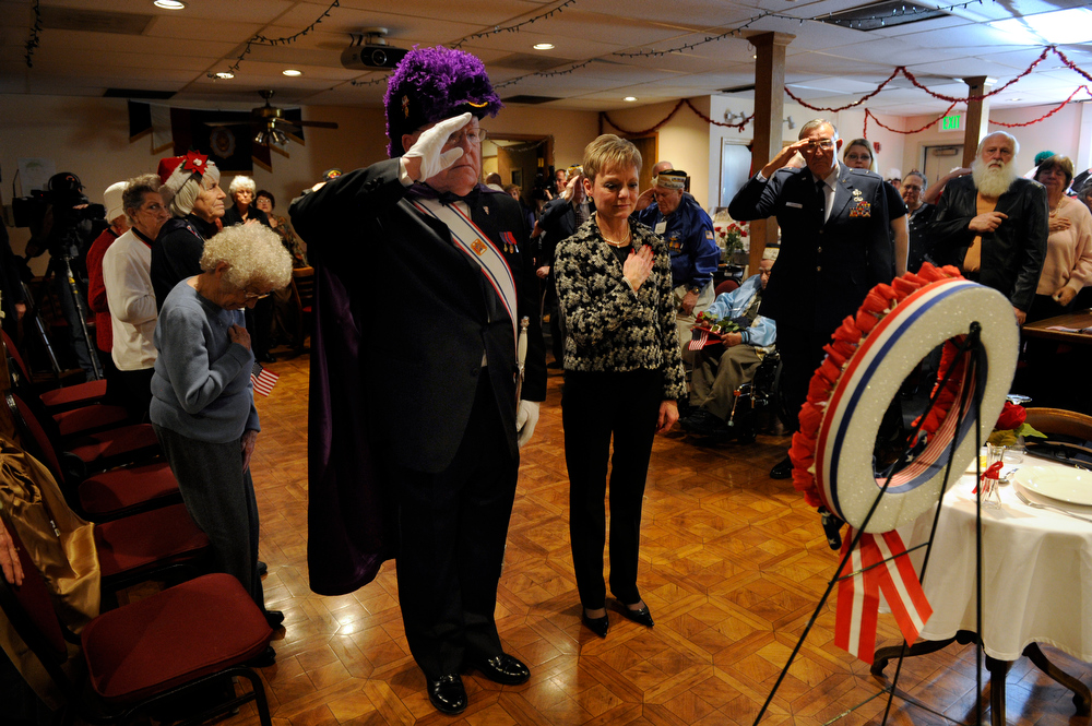 . A wreath is placed to recognize the day by Patricia Marnette, and Art Hut, commander of the Knights of Columbus of St. Thomas Moore. The American Legion Post 1 in Denver hosts a Remember Pearl Harbor 71st Anniversary Program on Friday, Dec. 7, 2012, honoring the survivors, their wives, and the widows. Kathryn Scott Osler, The Denver Post