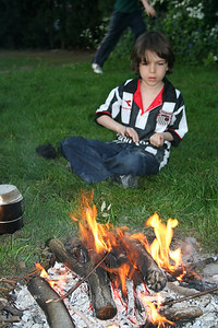 Chil Pack making tea on an open fire