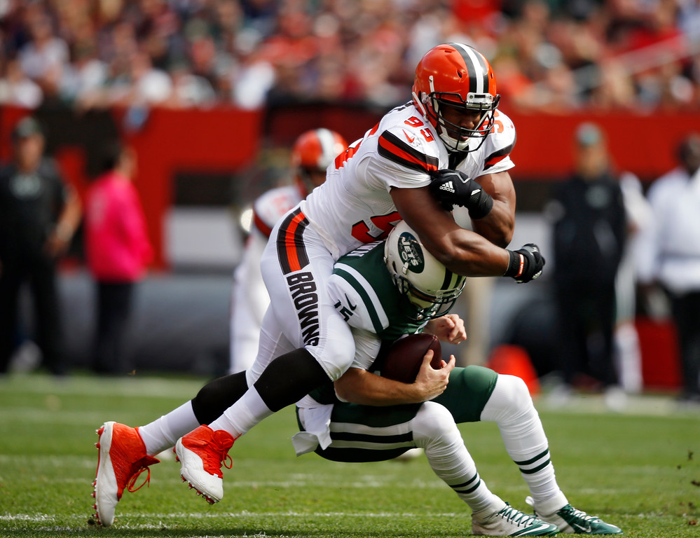 . Cleveland Browns defensive end Myles Garrett sacks New York Jets quarterback Josh McCown during the first half of an NFL football game, Sunday, Oct. 8, 2017, in Cleveland. (AP Photo/Ron Schwane)