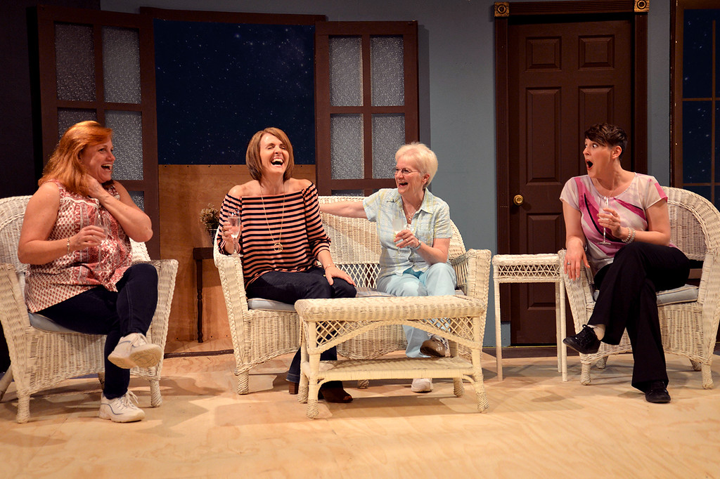 """. Jenny Barrett, left, Brenda Willis, Leigh Garrett and Kourtney Highland star in \""""The Savannah Sipping Society,\"""" on stage at the Chagrin Valley Little Theatre on weekends, June 1-17. For more information, visit cvlt.org.  (Courtesy Chagrin Valley Little Theatre)"""