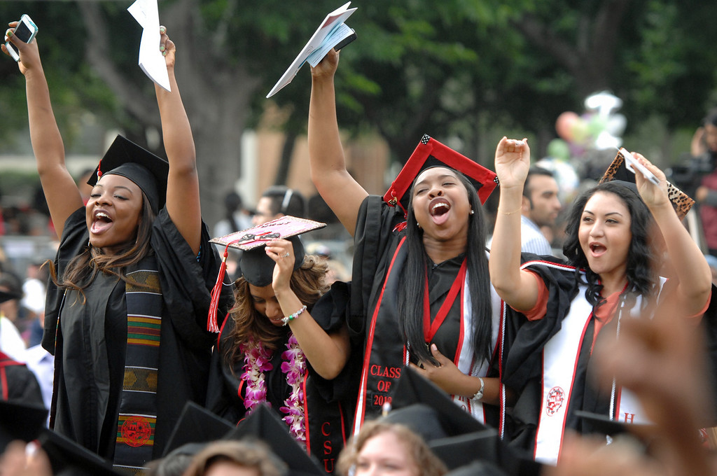 . Graduates cheer at the CSUN the commencement ceremony, Tuesday, May 21, 2013. (Michael Owen Baker/L.A. Daily News)